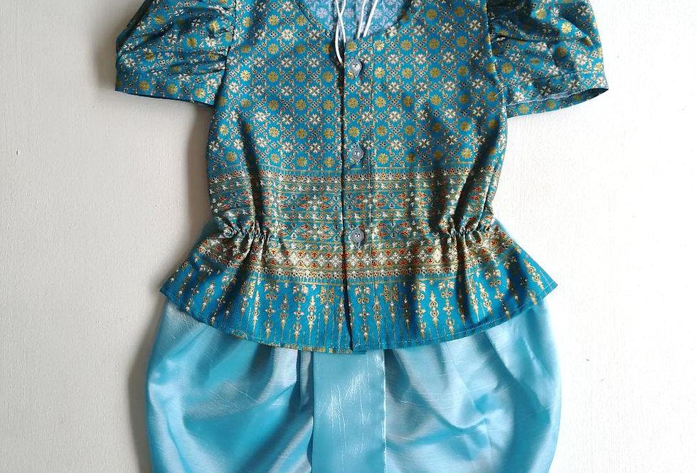 ชุดไทยเด็กหญิง SET9 - Blue