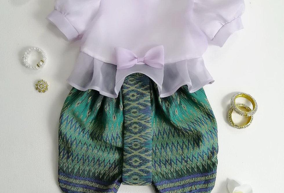ชุดไทยเด็ก Metta- Lilac/Green