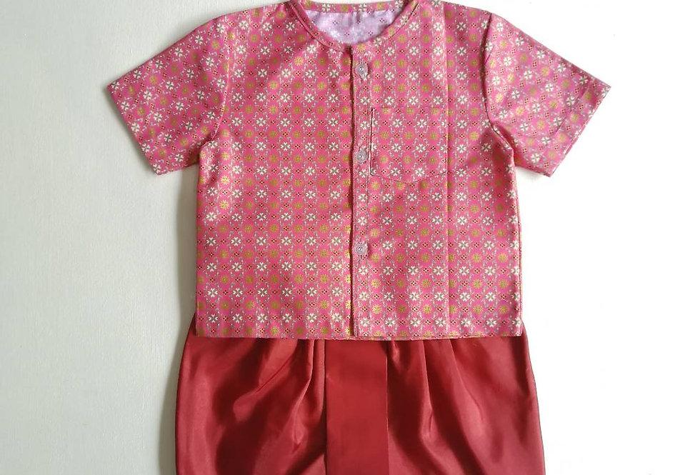 ชุดไทยเด็กชาย SET8-pink