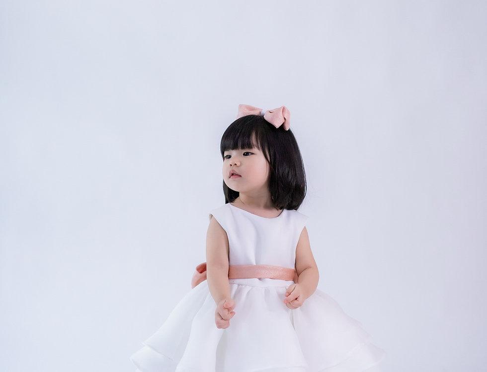 ชุดราตรีเด็ก สีขาว H19 Peach