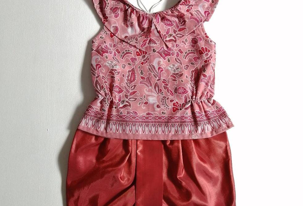 ชุดไทยเด็กหญิง SET3 - Orange Red