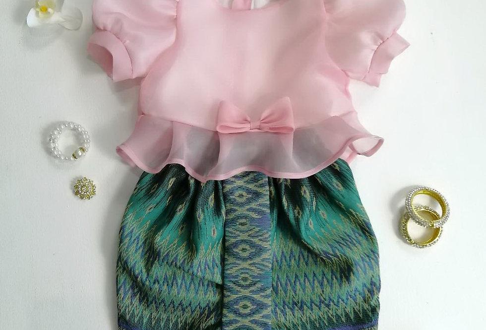 ชุดไทยเด็ก Metta- Pink/Green