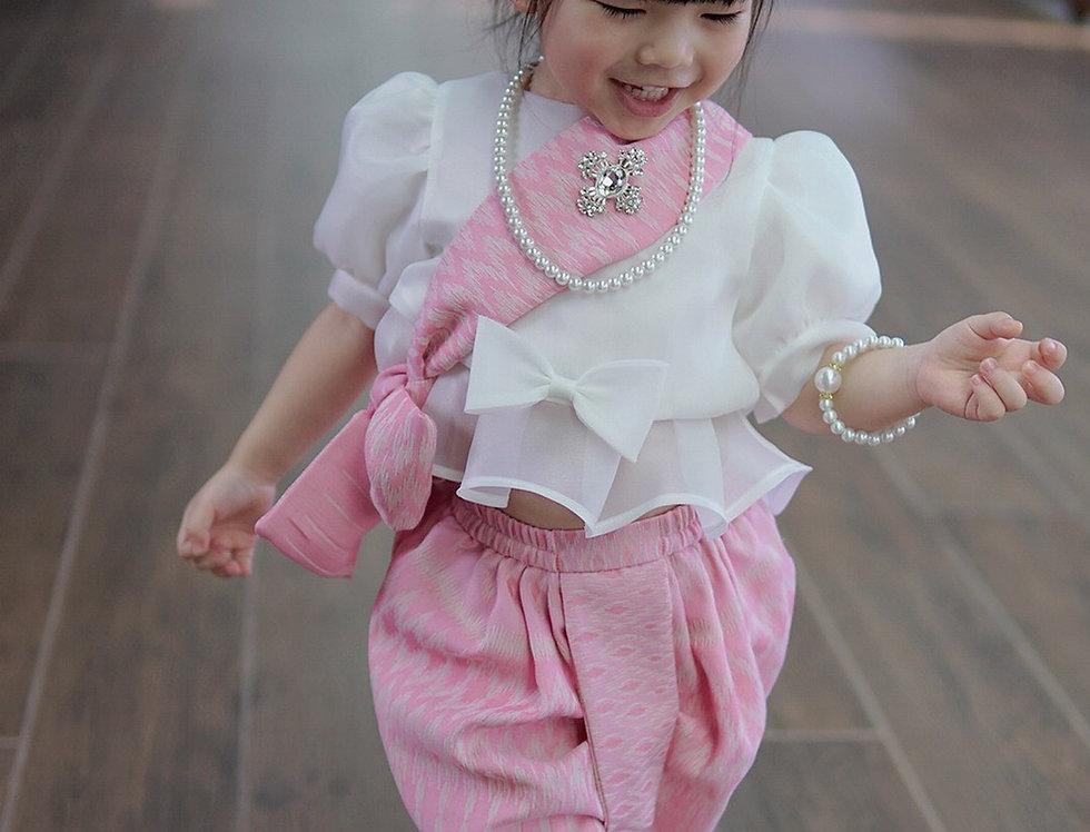 ชุดไทยเด็ก set Metta-white/pink