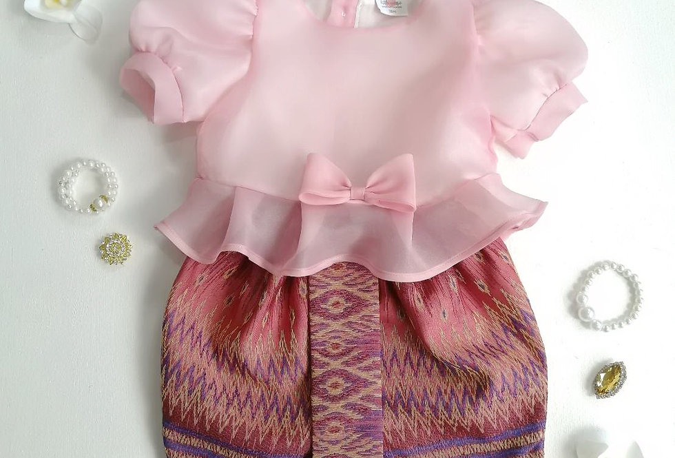 ชุดไทยเด็ก Metta- Pink/Dark Pink