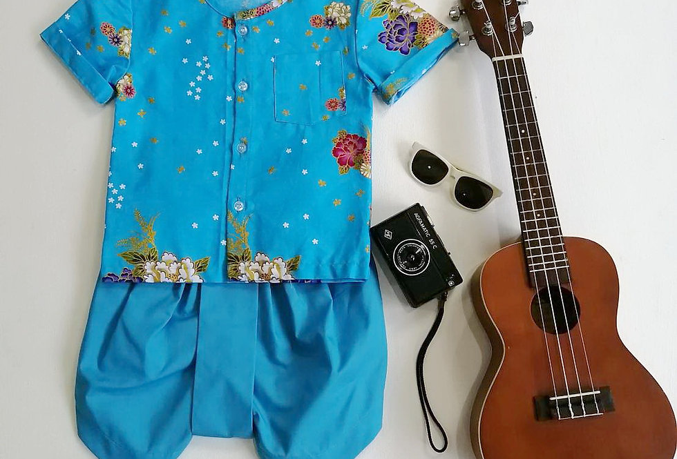 ชุดไทยเด็ก Pate2- Blue/blue