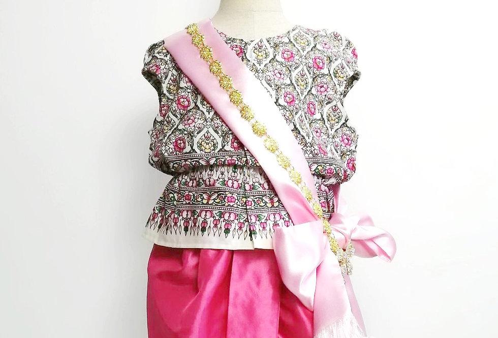 ชุดไทยเด็ก Mali full set-white/pink