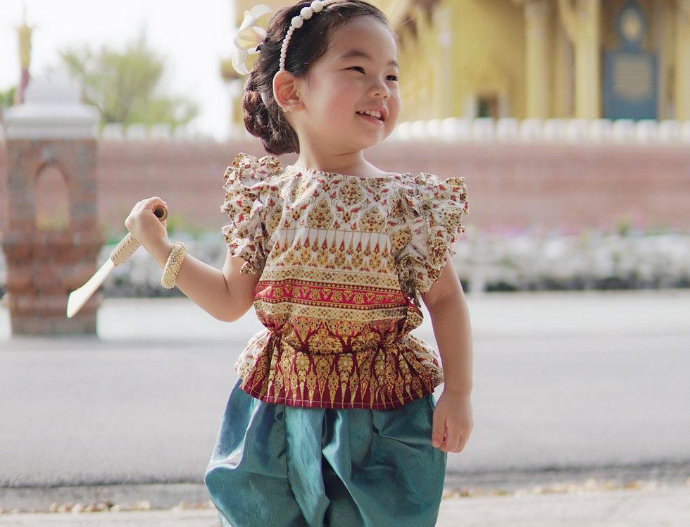 ชุดไทยเด็ก J3 Malai - White