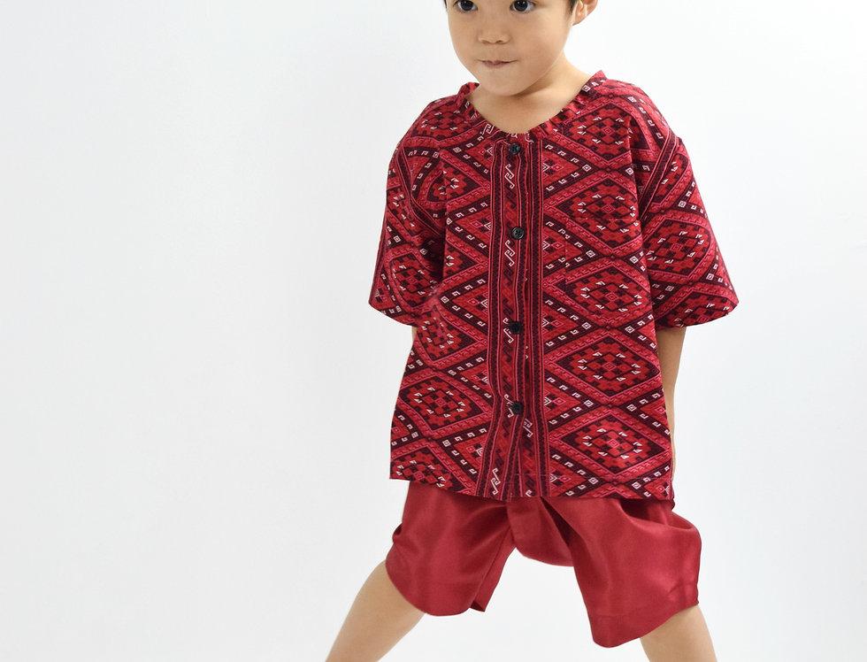 ชุดไทยเด็กชาย Pattani - Red