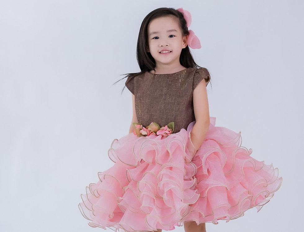 ชุดราตรีเด็ก สีชมพู H18 Pink