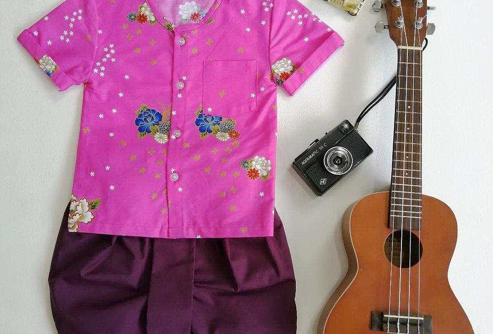 ชุดไทยเด็ก Pate2-Pink/Purple