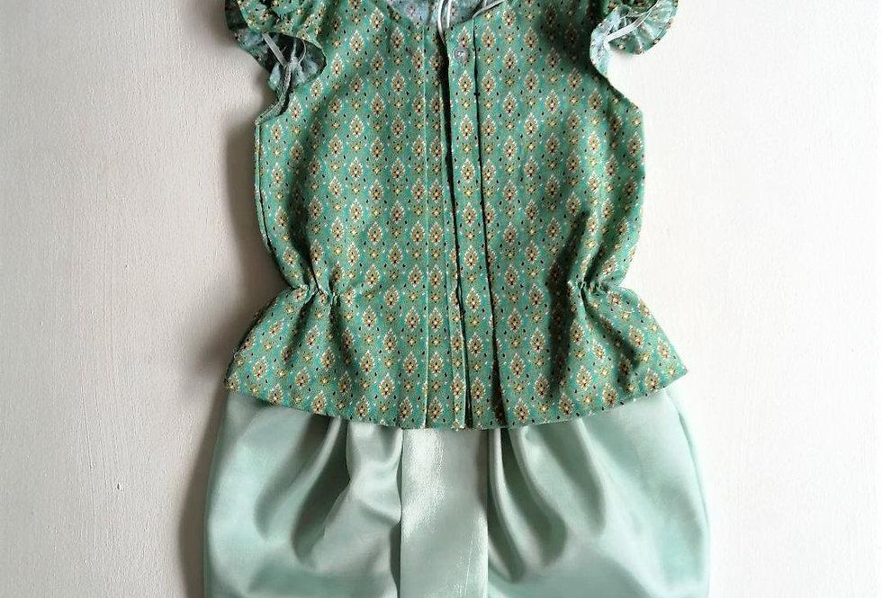 ชุดไทยเด็กหญิง SET12 - Green