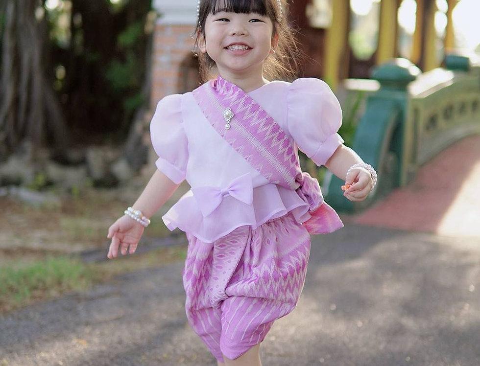 ชุดไทยเด็ก set Metta-lilac/pink