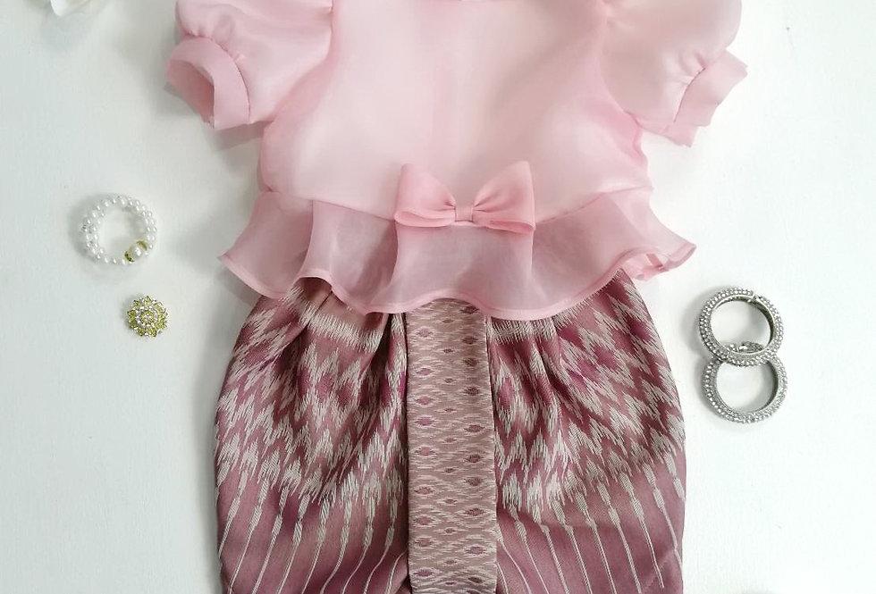ชุดไทยเด็ก Metta- pink/old rose