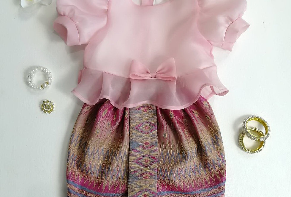 ชุดไทยเด็ก Metta- Pink/Pink