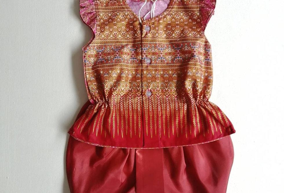 ชุดไทยเด็กหญิง SET19 -Orange Red