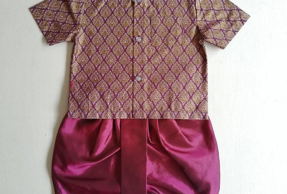 ชุดไทยเด็กชาย SET18-Purple