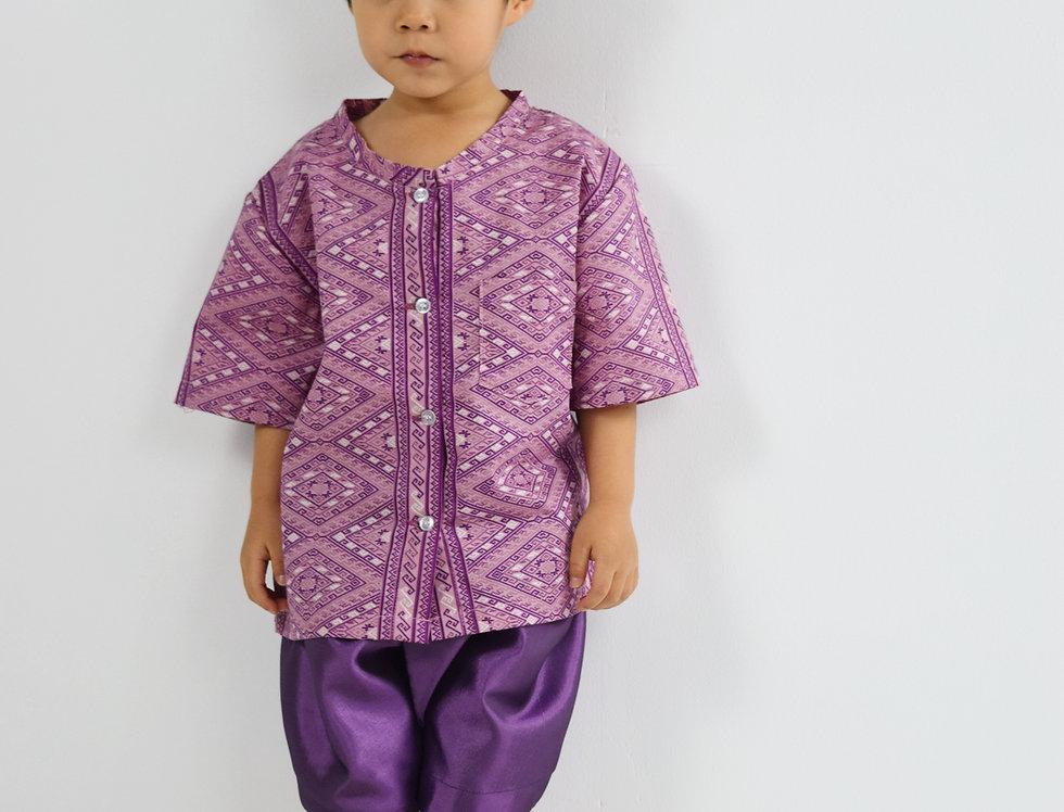 ชุดไทยเด็กชาย Pattani - Purple