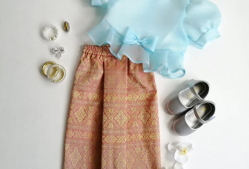 ชุดไทยเด็ก Metta- Blue/Peach