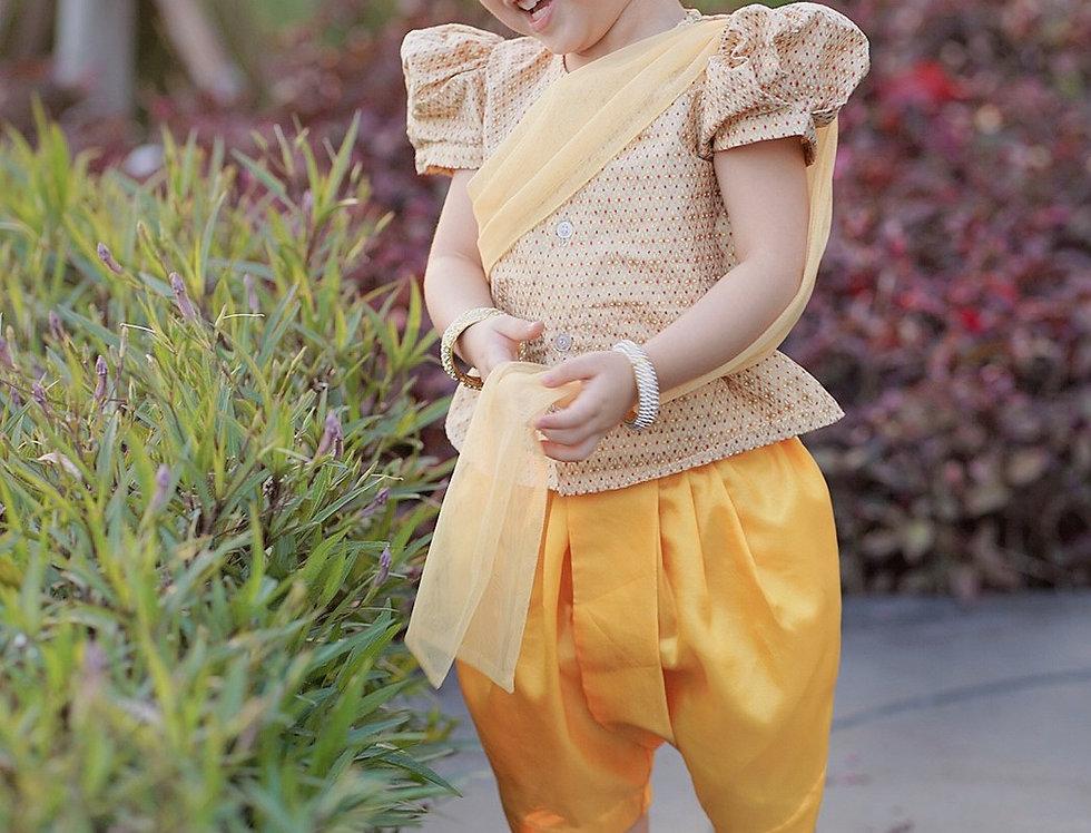 ชุดไทยเด็กหญิง SK2102 - yellow