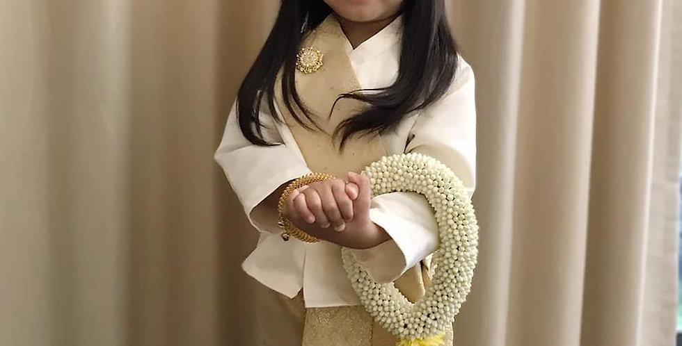ชุดไทยเด็ก set Jitlada cream/gold