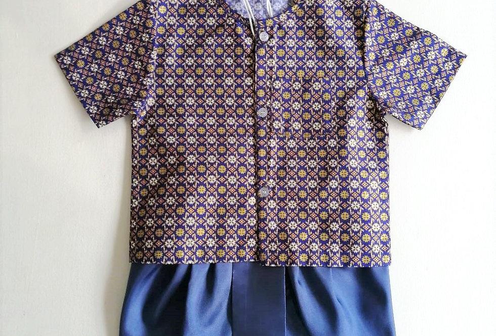 ชุดไทยเด็กชาย SET10-Dark blue