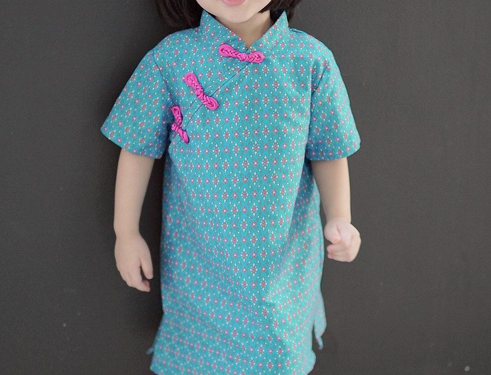 ชุดตรุษจีน เด็กหญิง สีฟ้า -AP2