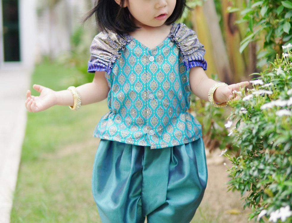 ชุดไทยเด็กหญิง  J4 - Blue