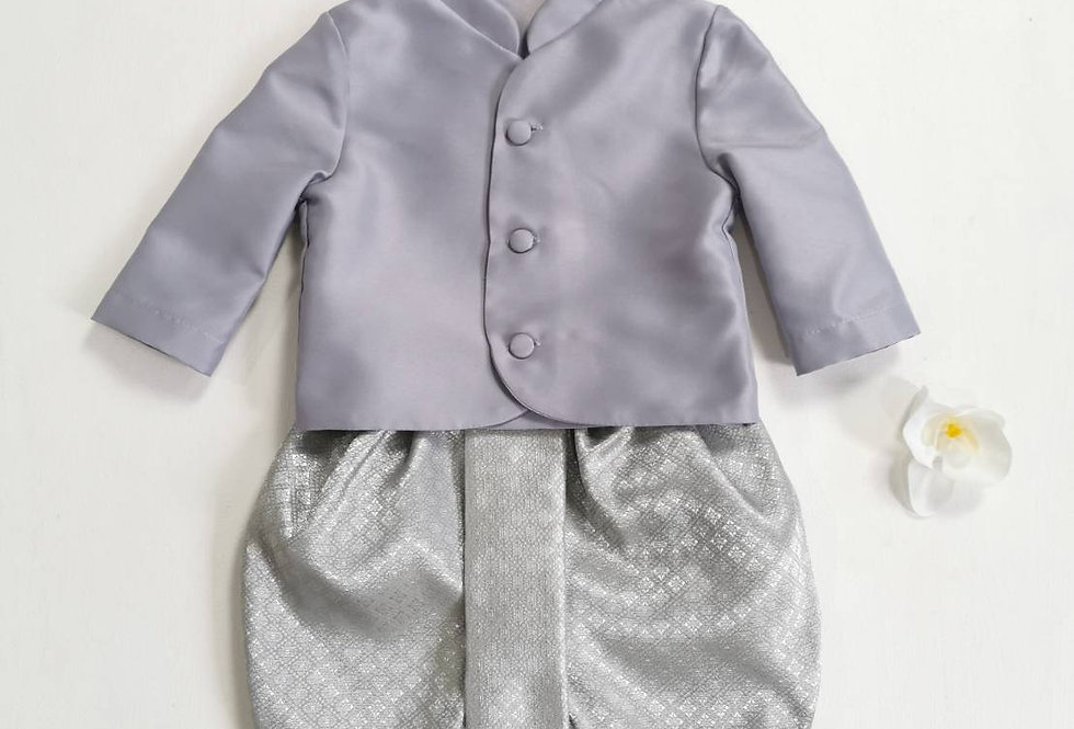 ชุดไทยเด็กชาย TM-Grey/silver