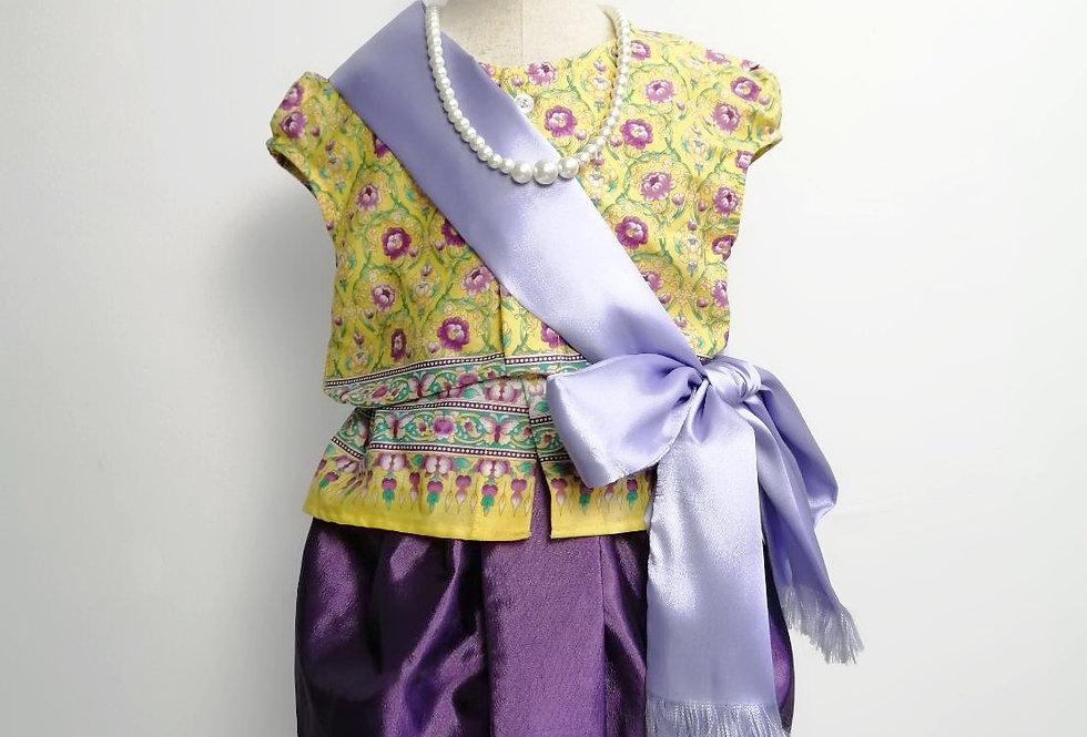 ชุดไทยเด็ก Mali full set- Yellow/Purple