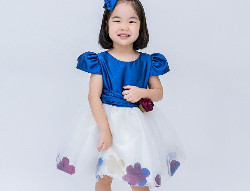 ชุดราตรีเด็ก E2110-Blue