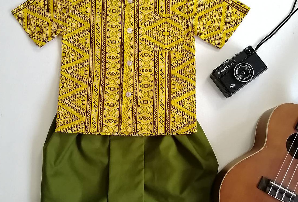 ชุดไทยเด็กชาย Pattani-Yellow/Green
