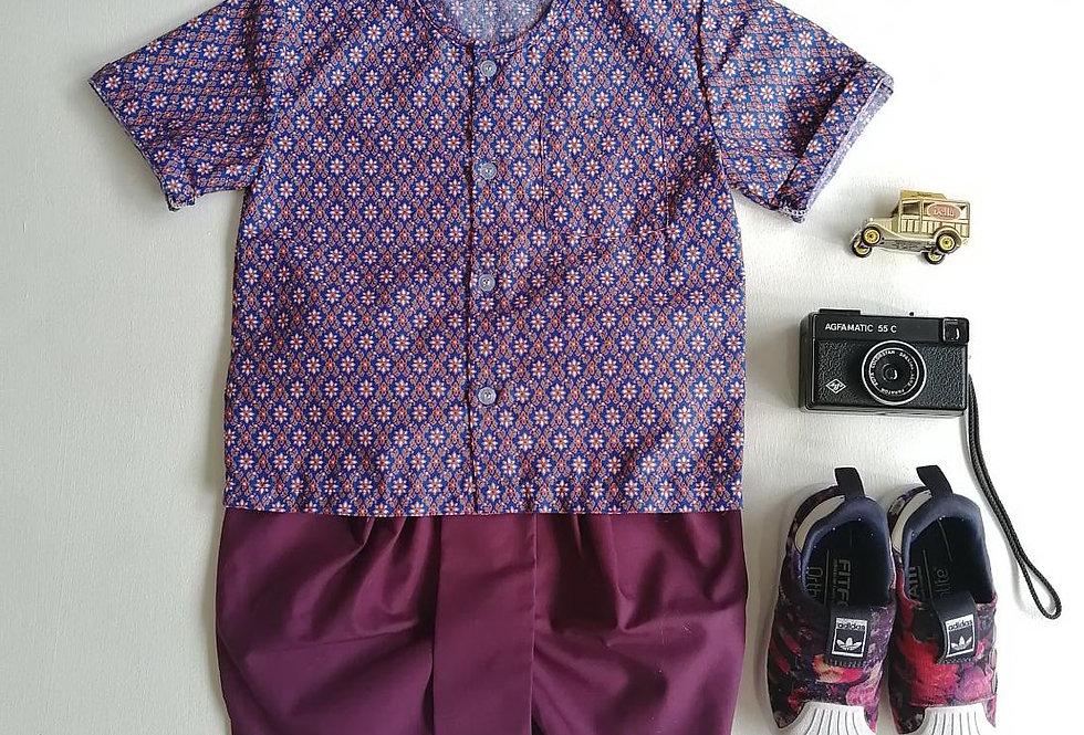 ชุดไทยเด็กชาย Nara-purple set
