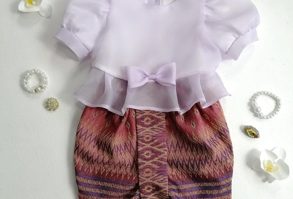 ชุดไทยเด็ก Metta- Lilac/Dark Pink