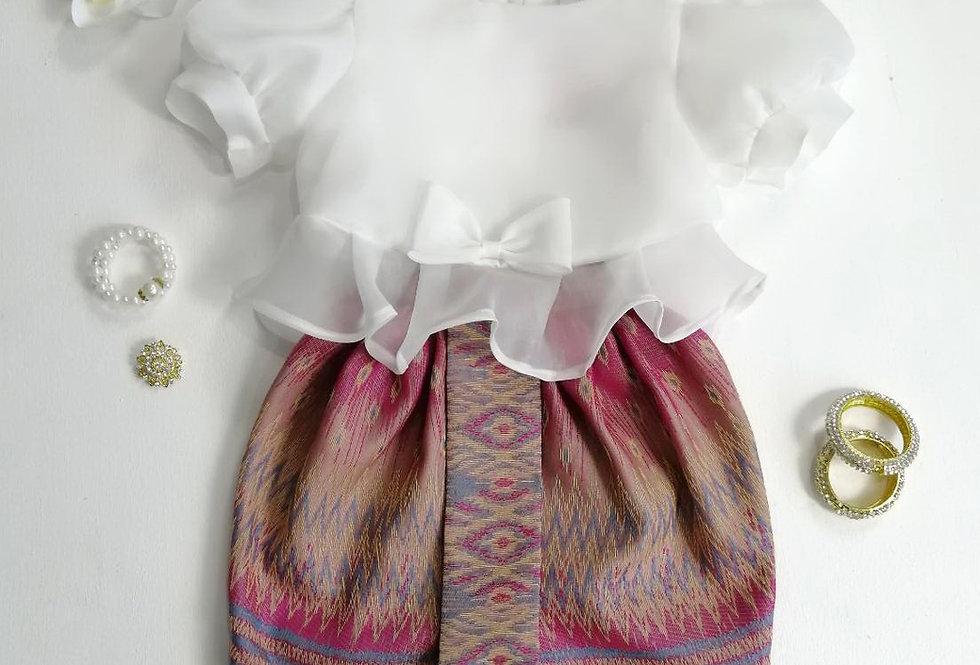 ชุดไทยเด็ก Metta- White/Pink