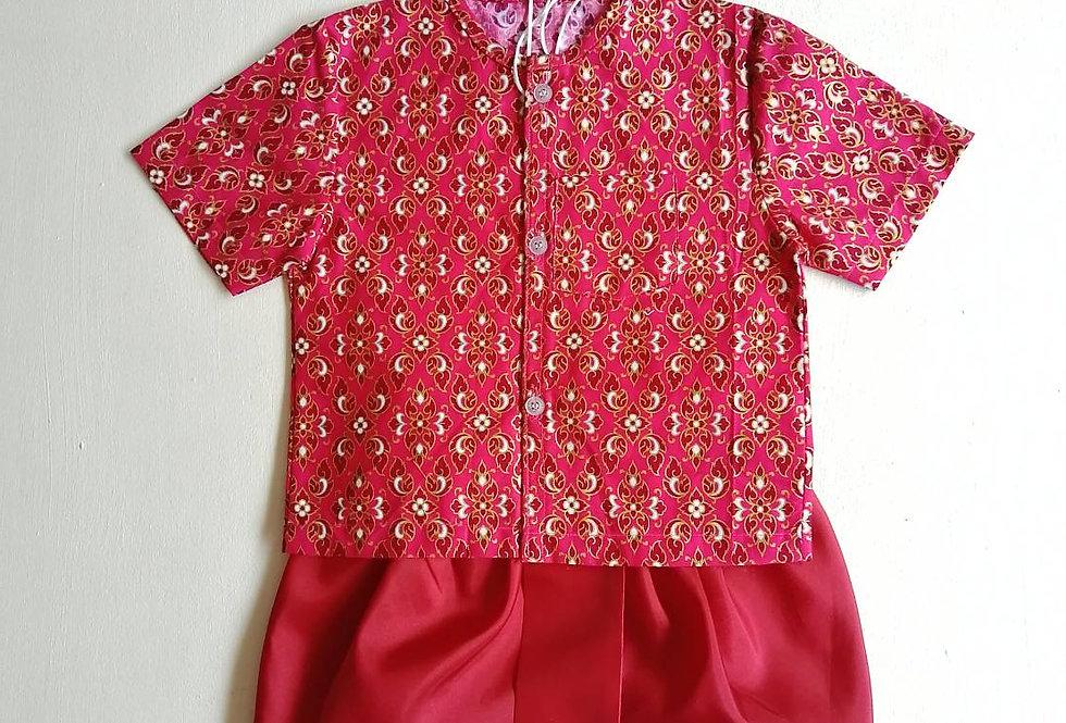 ชุดไทยเด็กชาย SET16-Red