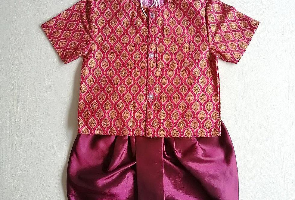 ชุดไทยเด็กชาย SET17-Purple