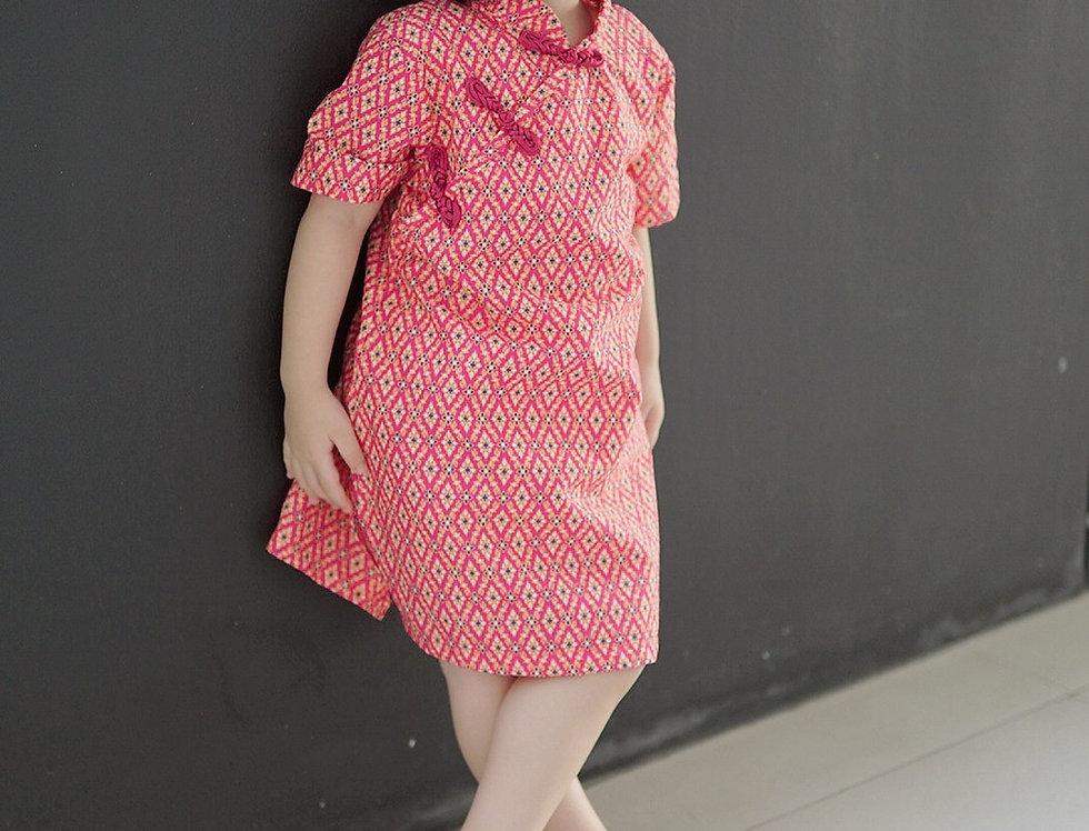 ชุดตรุษจีน เด็กหญิง สีชมพูเข้ม -AP2