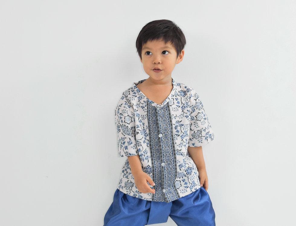 ชุดไทยเด็กชาย Yala-Ivory/blue