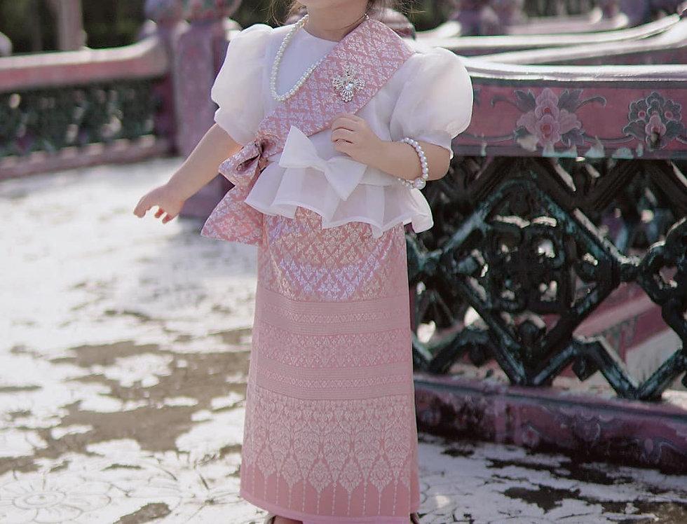 ชุดไทยเด็ก set Metta-white/Sarong-pink