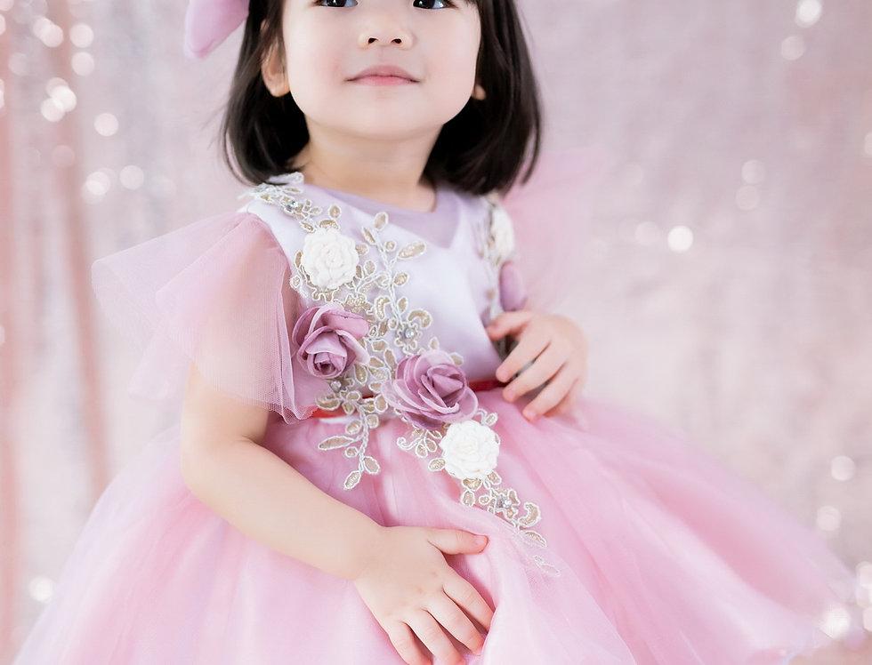 ชุดราตรีเด็ก สีชมพู H13 Pink