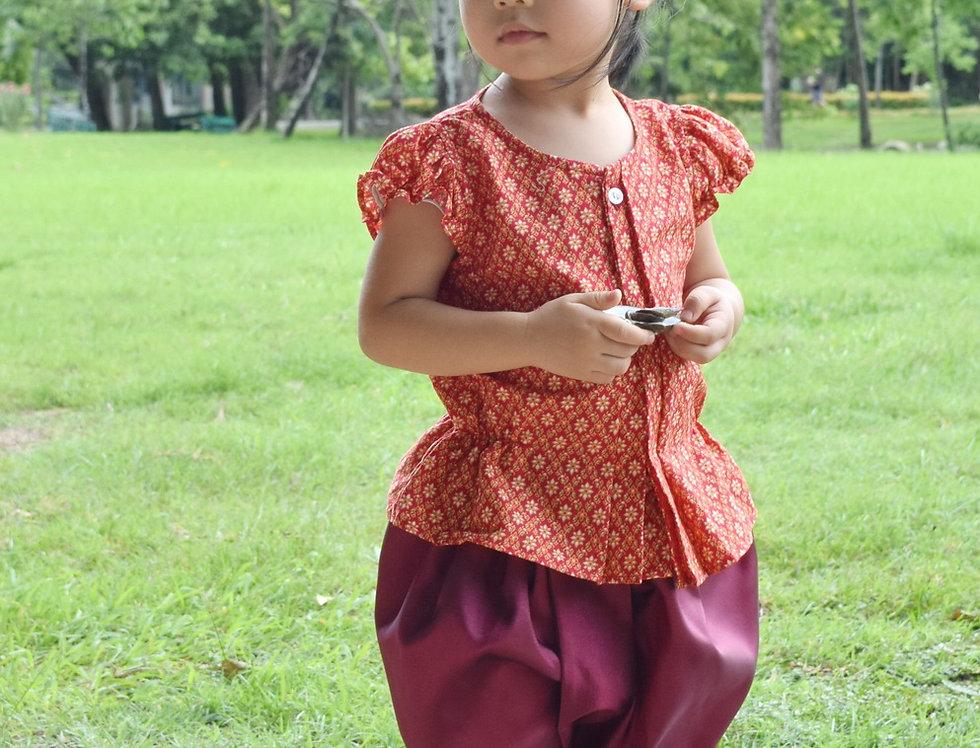 ชุดไทยเด็ก J8- Red/maroon