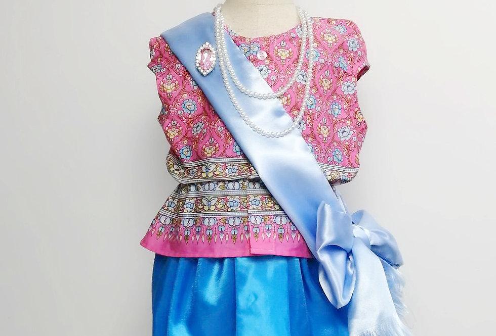 ชุดไทยเด็ก Mali full set- pink/blue
