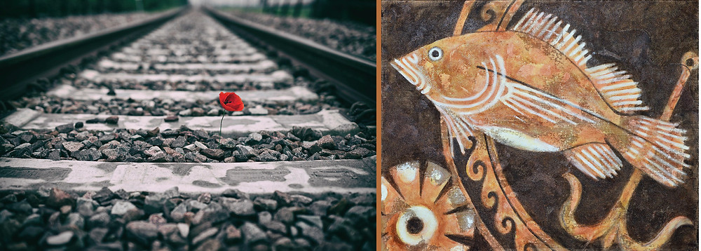 photograph at left: 1 red contrasting poppy growing in dark train track, rails and gravel. Artwork Right: Greek stylised fish with anchor in shades of terra cotta against dark background.