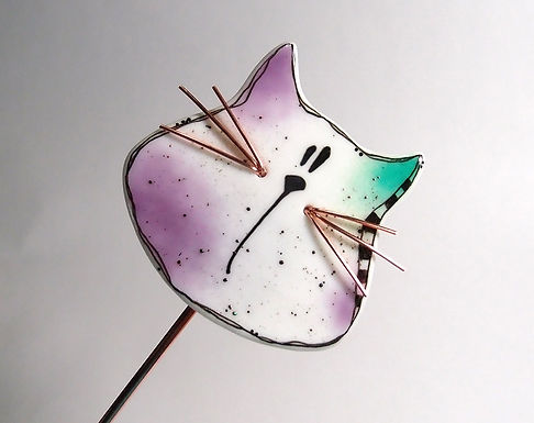Cat - Fused Glass Garden Stake