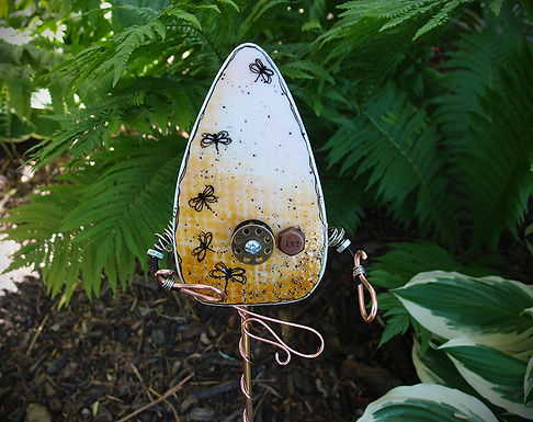Robot - Fused Glass Garden Stake