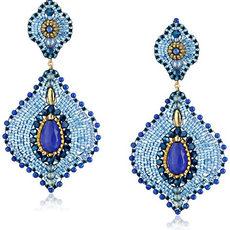 Miguel Ases Lapis & Jade Lotus Earrings