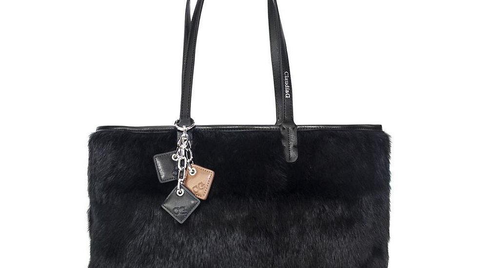 Olivia Fur+Leather Handbag - Black