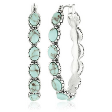 Lucky Brand Silver Tone & Faux Turquoise Earrings