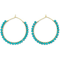 Natural Turquoise Stone Hoops