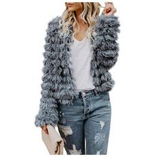Open Front Faux Fur Cardigan